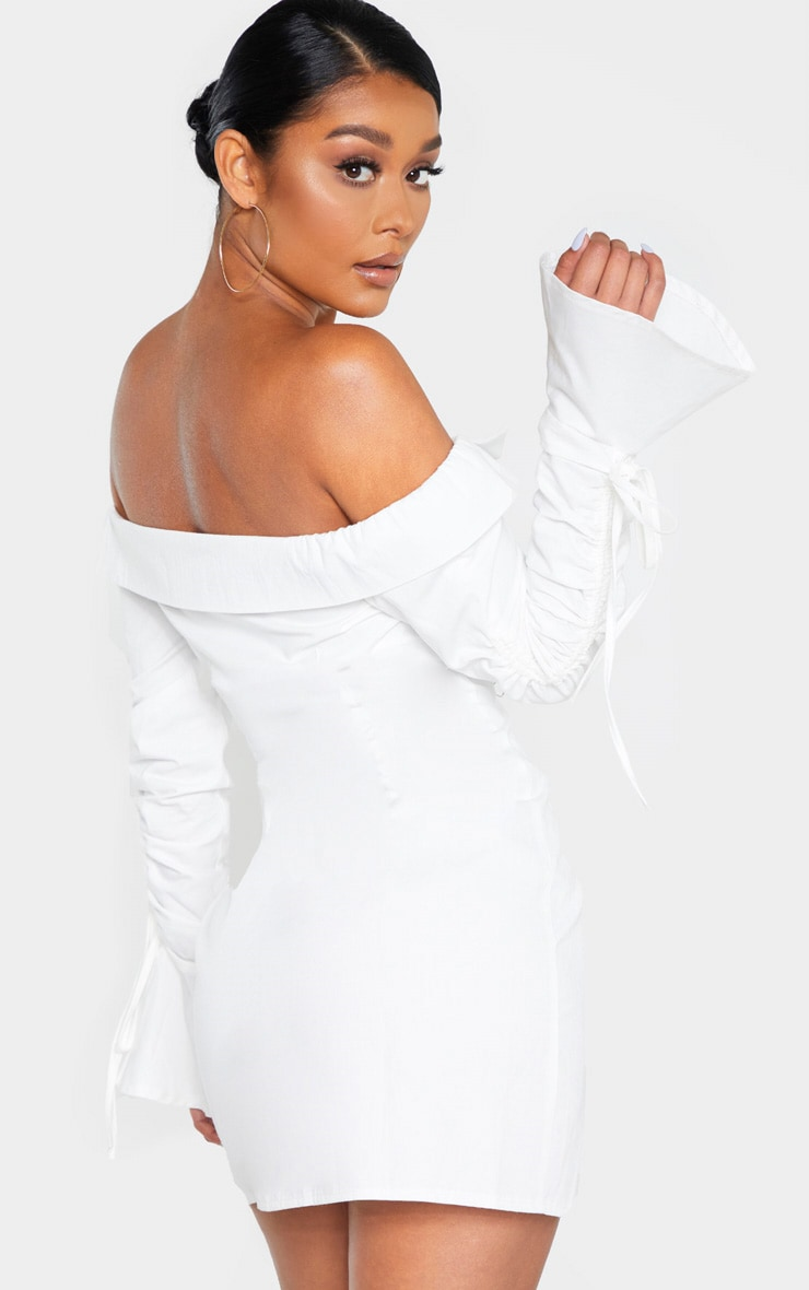 White Bardot Ruched Sleeve Shirt Dress 2