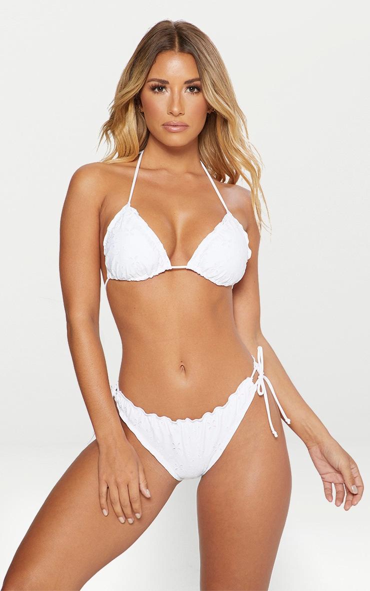 White Broiderie Frill Edge Triangle Bikini Set