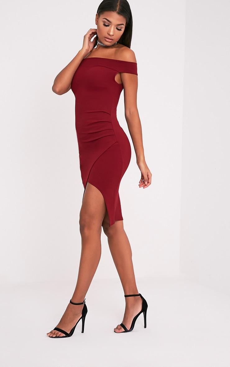 Abbey Burgundy Bardot Wrap Front Crepe Midi Dress 4