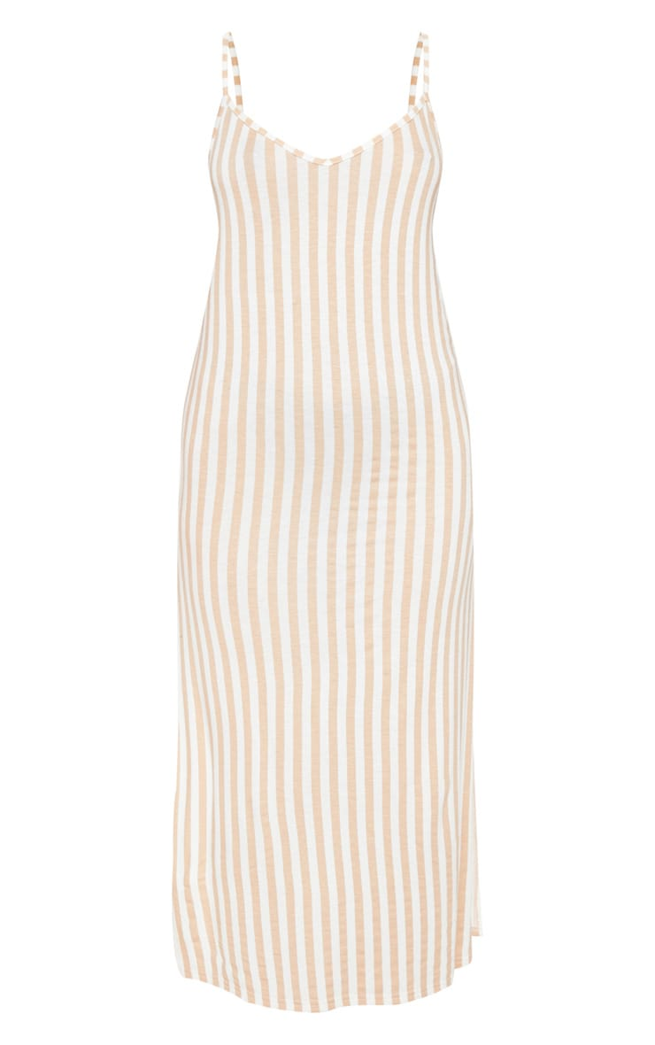 Camel Stripe Jersey Split Midi Dress 3