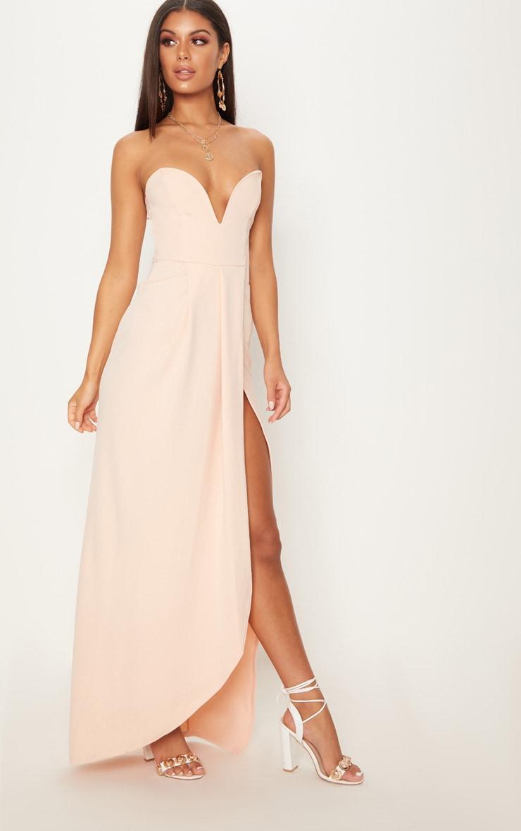 Nude Draped Wrap Detail Bandeau Maxi Dress 4