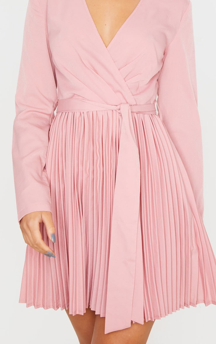 Dusty Pink Long Sleeve Pleated Skater Dress 5