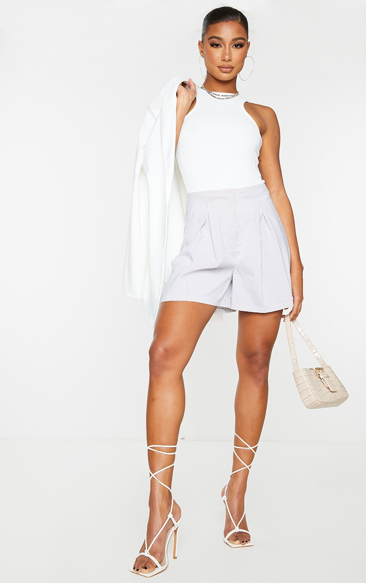 Grey Pinstripe Textured Woven Tailored Shorts 1