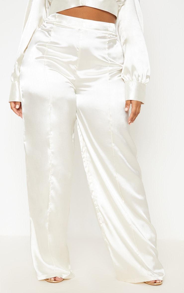 White Satin Wide Leg Pants 3