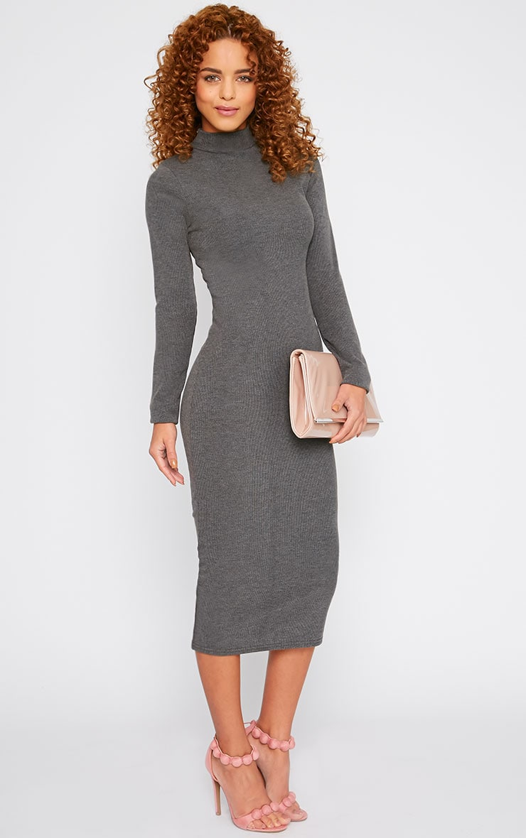 Basic Charcoal Ribbed Turtle Neck Midi Dress 1