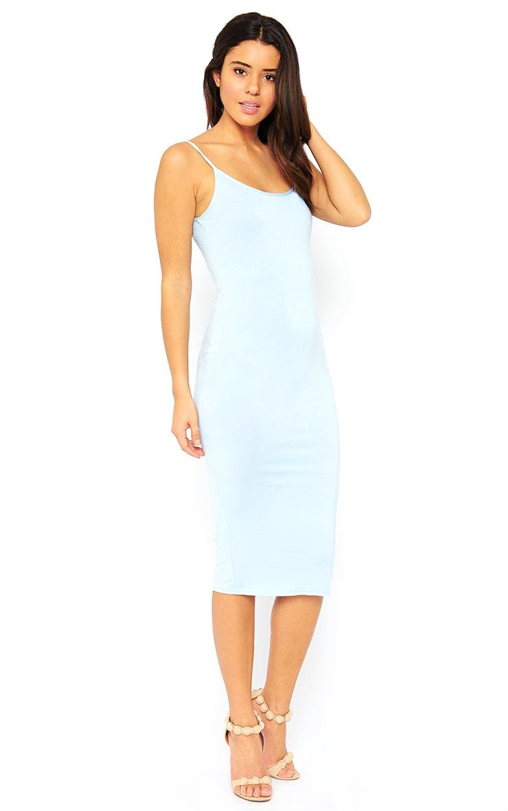 Basic Powder Blue Midi Vest Dress 3