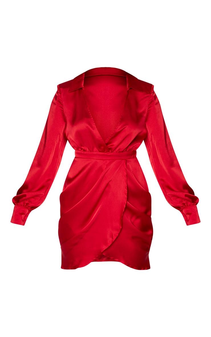 Red Satin Plunge Neck Shoulder Pad Wrap Dress 5