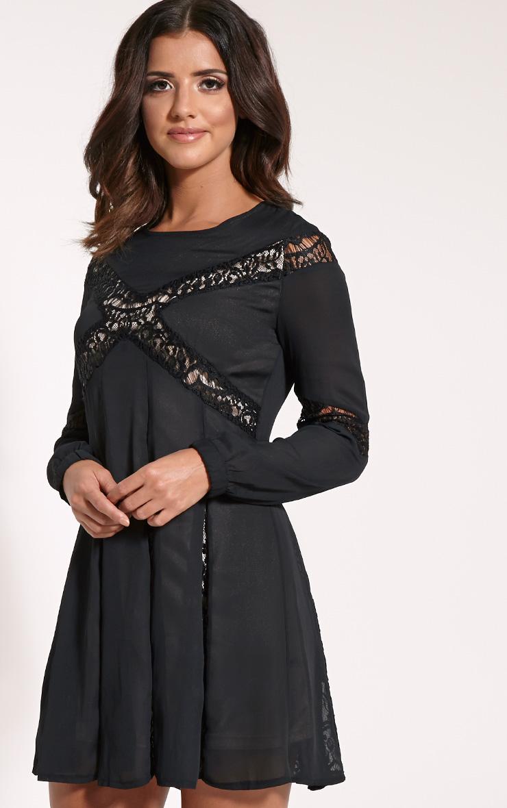 Elania Black Lace Insert Skater Dress 3