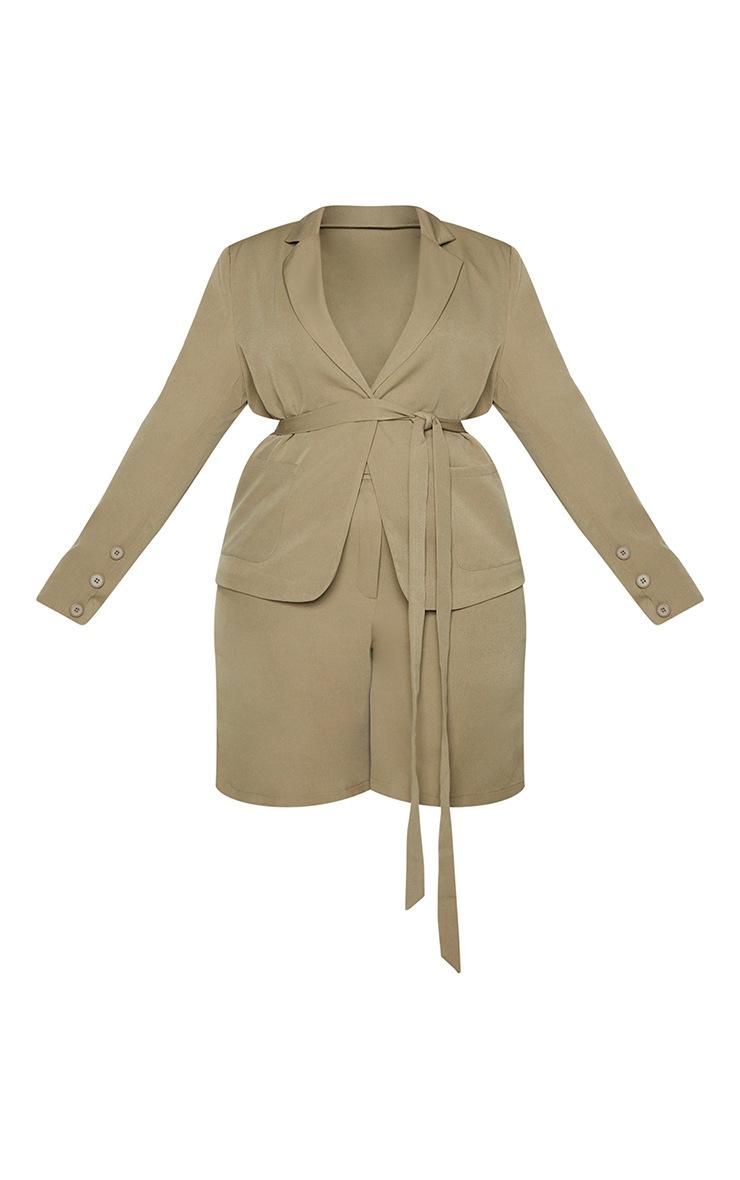 Plus Khaki Tie Front Blazer 6