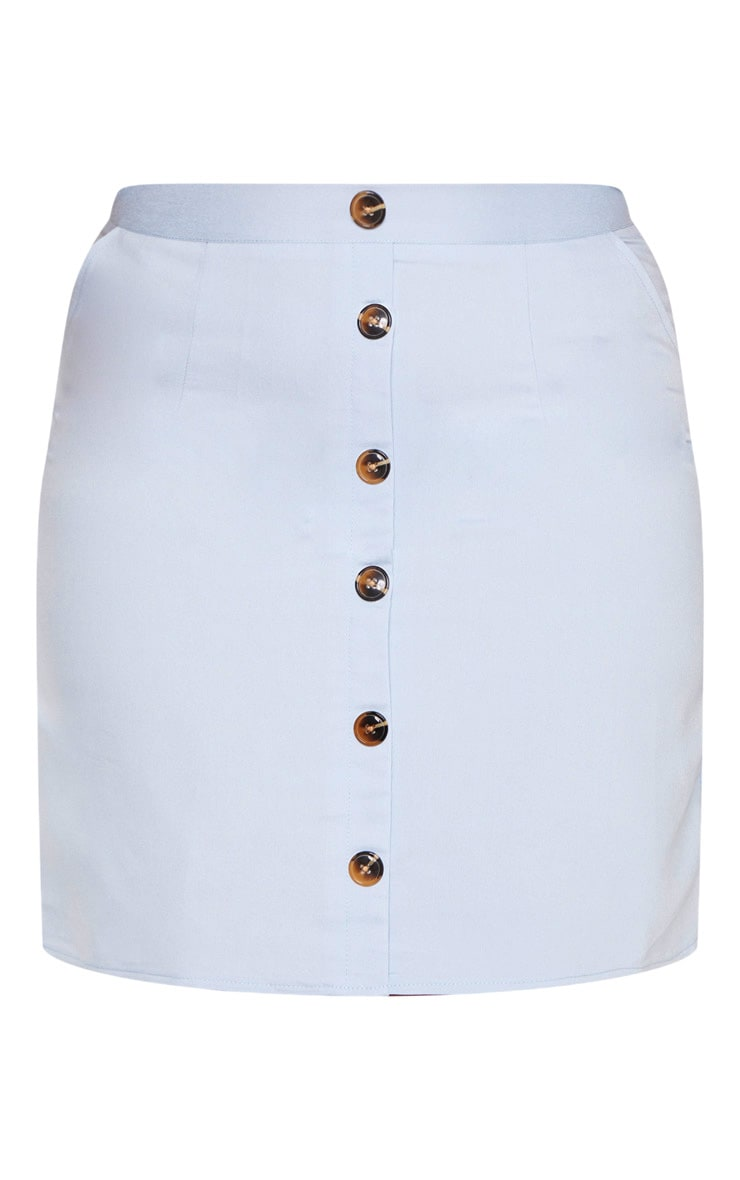 Plus Dusty Blue Button Front Bodycon Skirt  3