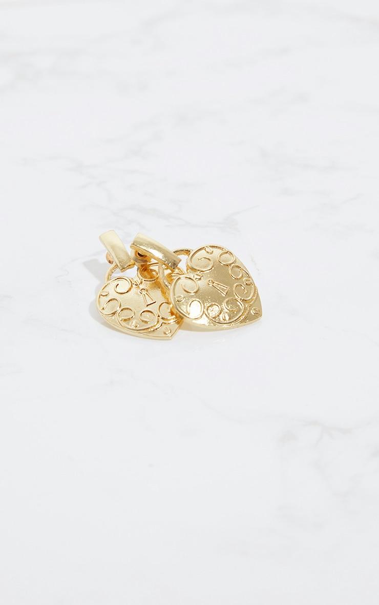 Gold Heart Locket Earrings 2