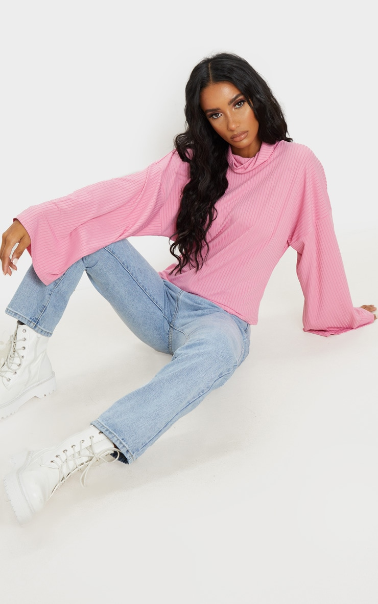 Pink Roll Neck Oversized Sweater 3