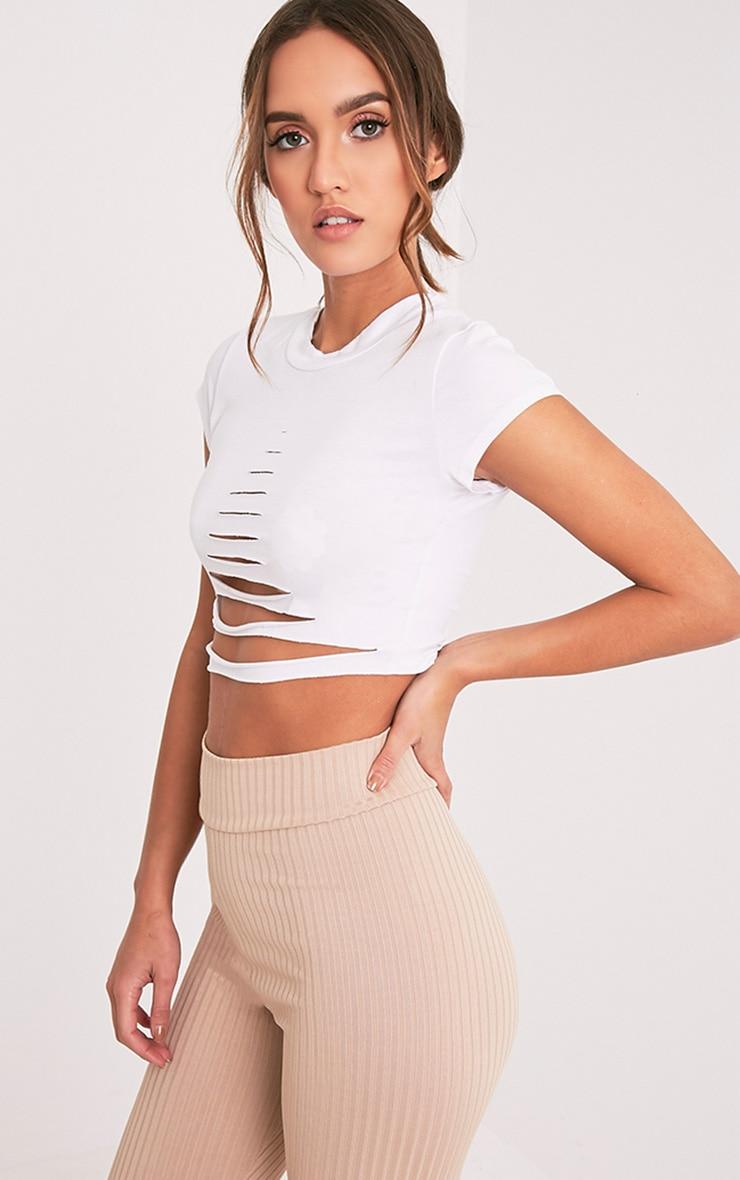 Keya t-shirt court déchiré à manches courtes blanc 4