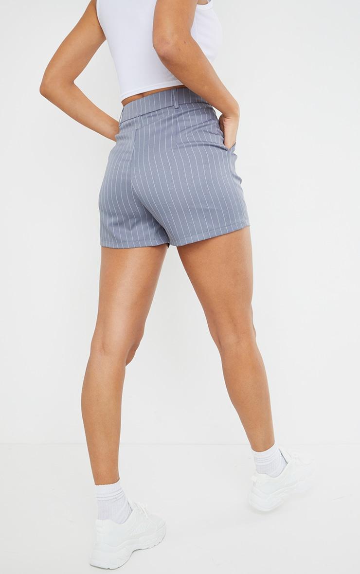 Grey Pinstripe Tailored Shorts 3