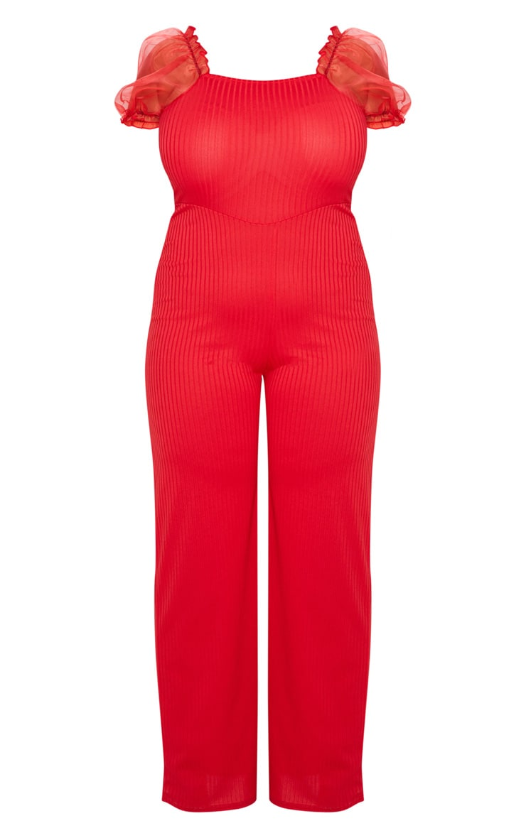 Plus Red Organza Sleeve Wide Leg Jumpsuit 3