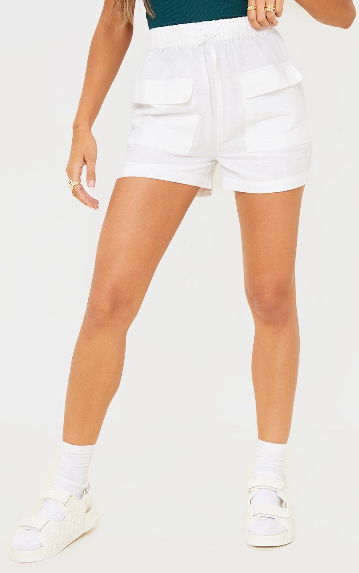 White Linen Feel Pocket Detail Tie Waist Shorts 2