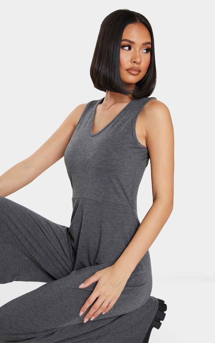 Grey Wide Leg Jersey Jumpsuit 4