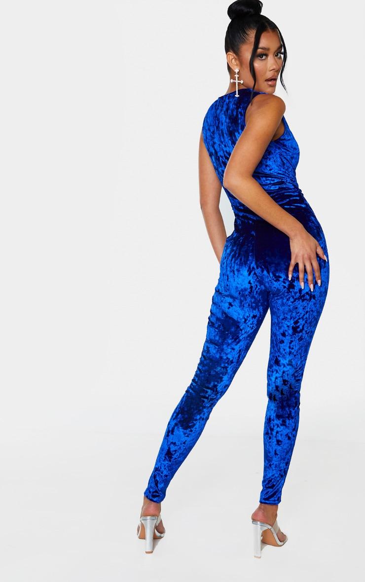 Cobalt Crushed Velvet Sweetheart Neckline Jumpsuit 2