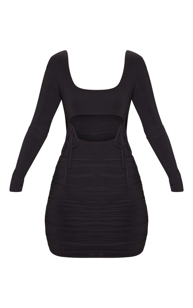 Black Slinky Ruched Double Tie Detail Bodycon Dress 3