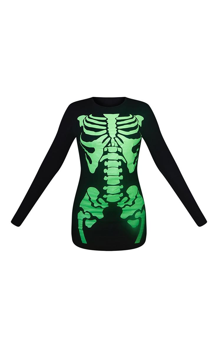 Robe moulante noire à manches longues avec motif squelette fluo 6