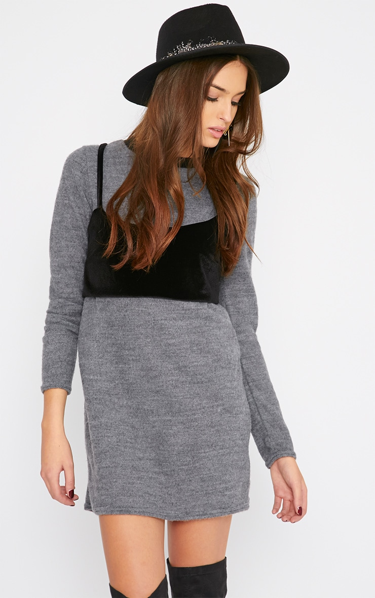 Adrianne Grey Crop Top Sweater Dress 4