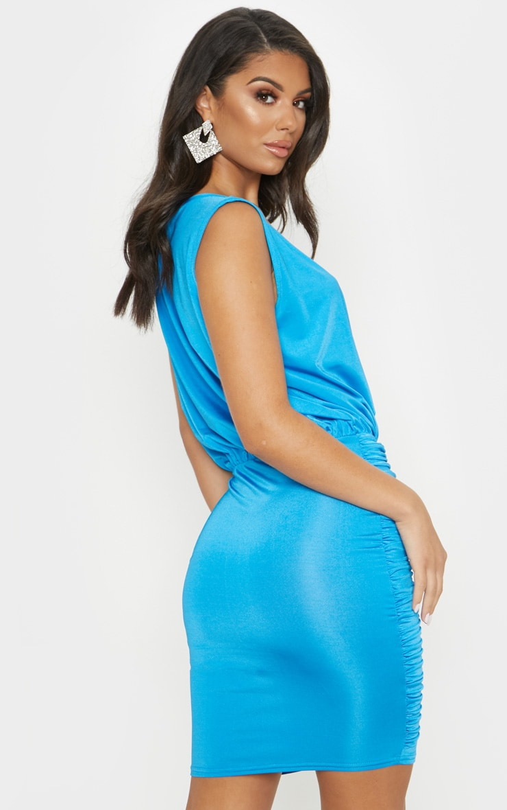 Bright Blue Slinky Plunge Ruched Front Bodycon Dress 2