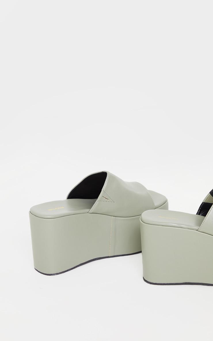 Pale Khaki Pu Square Toe Platform Mules 4