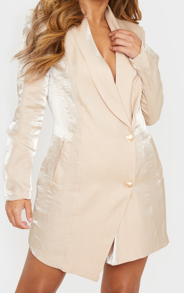 Petite Champagne Shimmer Gold Button Blazer Dress 5
