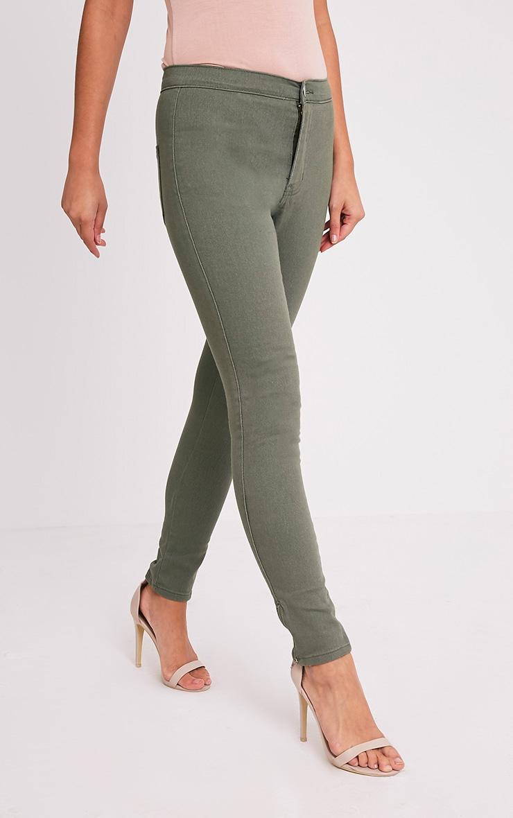 Kylie jean skinny taille haute kaki 2