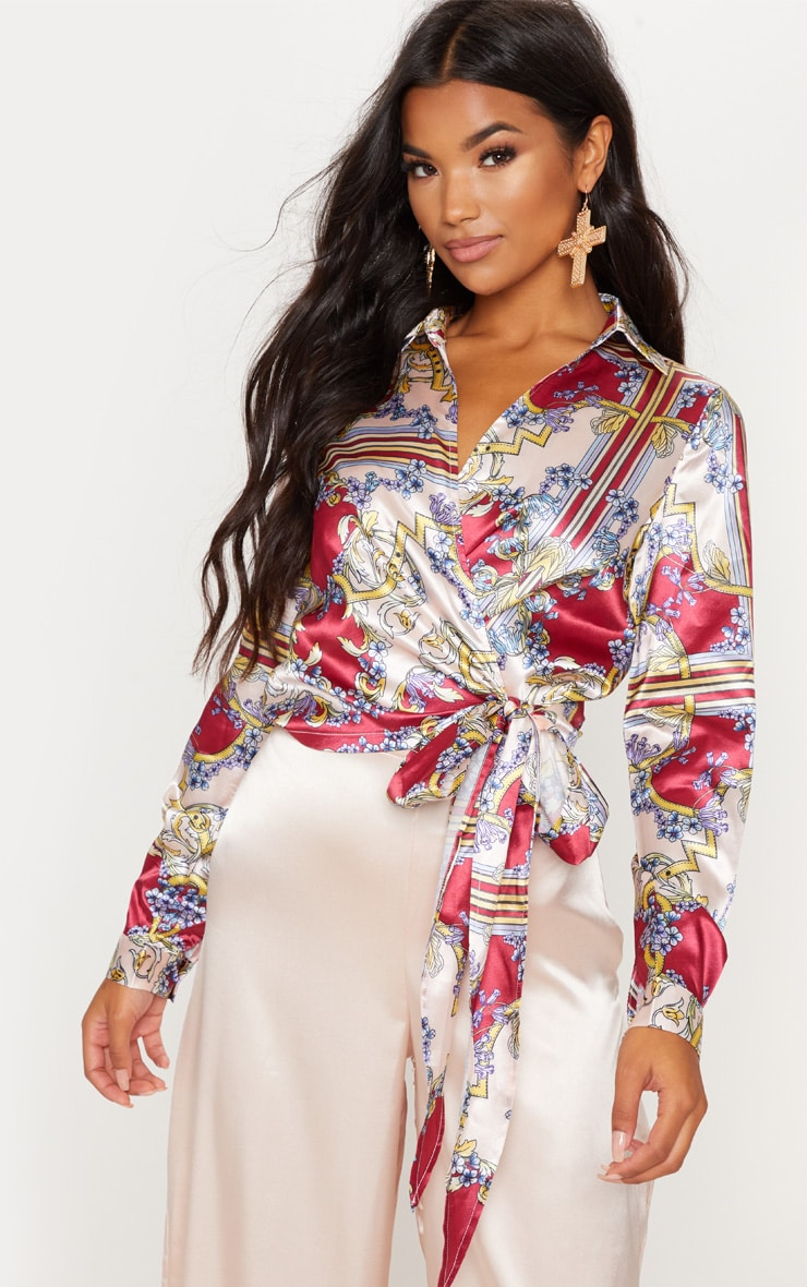 Multi Mixed Rose Printed Wrap Front Tie Side Blouse