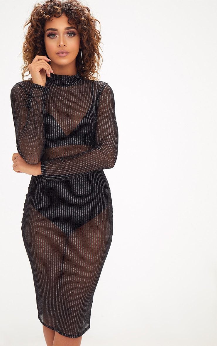 Black High Neck Long Sleeve Glitter Lurex Bodycon Dress