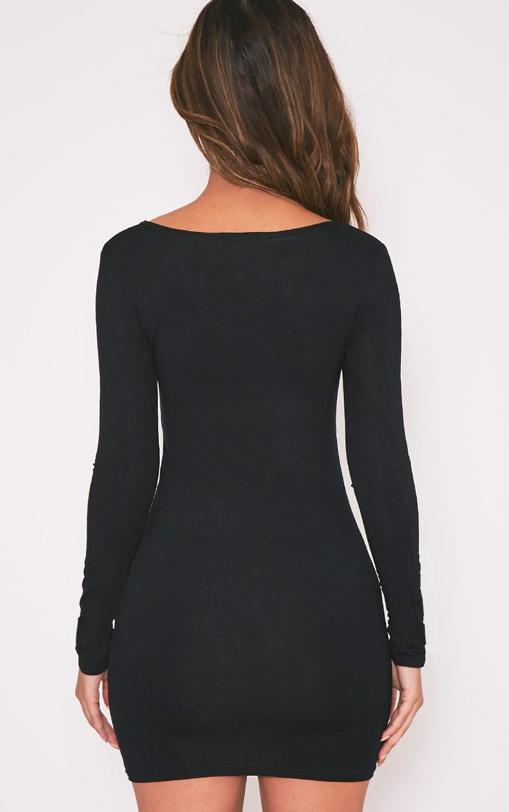 Basic Black Long Sleeve Jersey Mini Dress 2