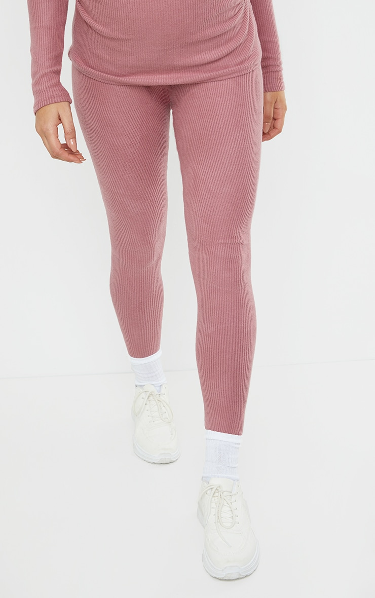 Maternity Dusty Rose Ruched Brushed Leggings 2