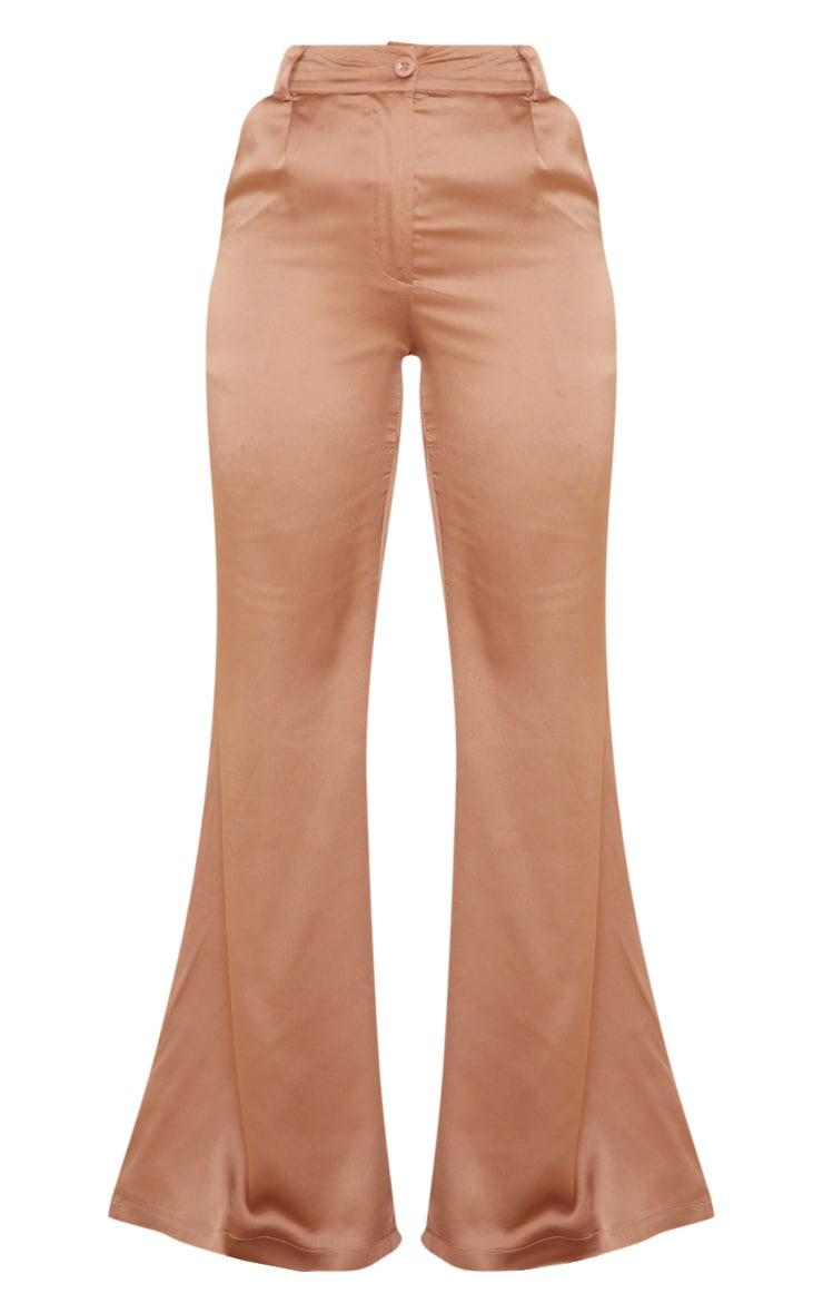 Tan Satin Flared Pants 3
