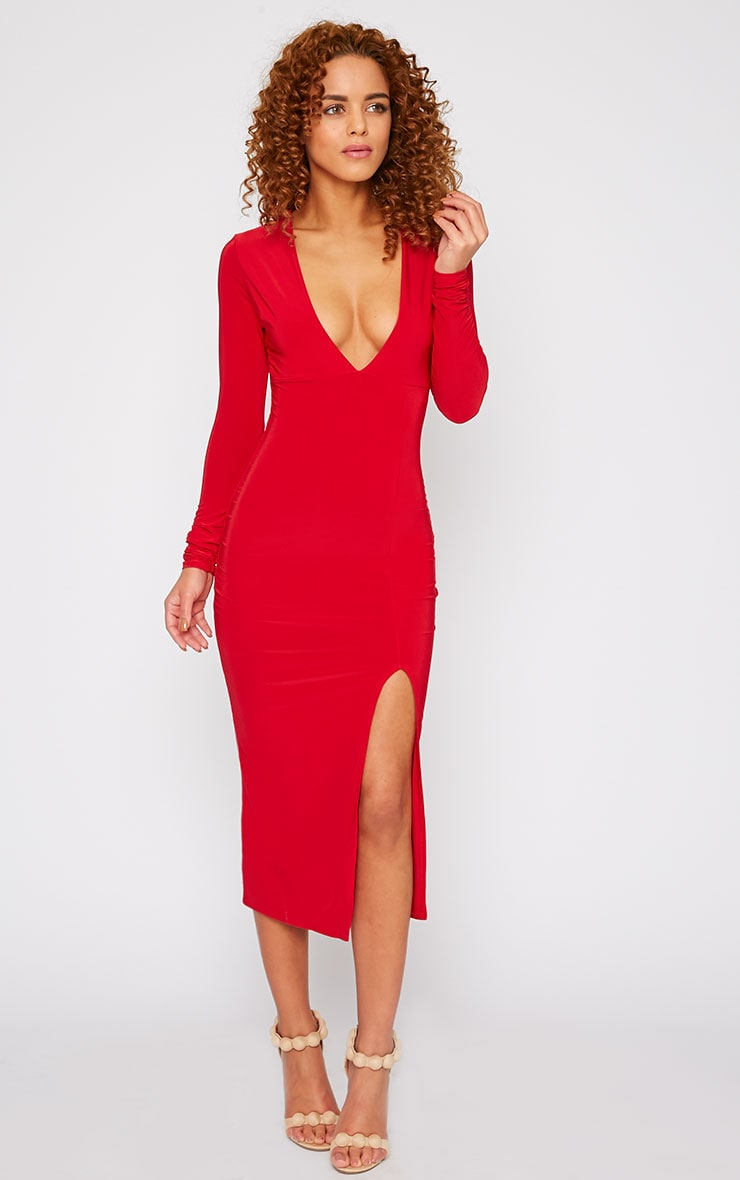 Christa Red Slinky Plunge Split Front Midi Dress-4 3