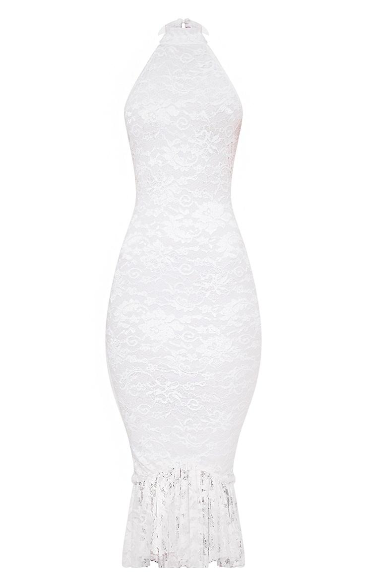 White Lace Halterneck Frill Hem Midi Dress 3