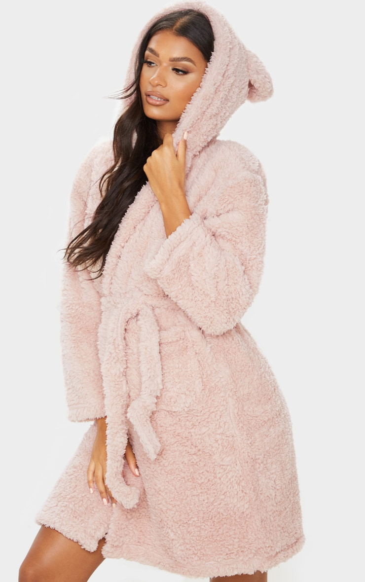 Taupe Teddy Ear Fluffy Robe 1