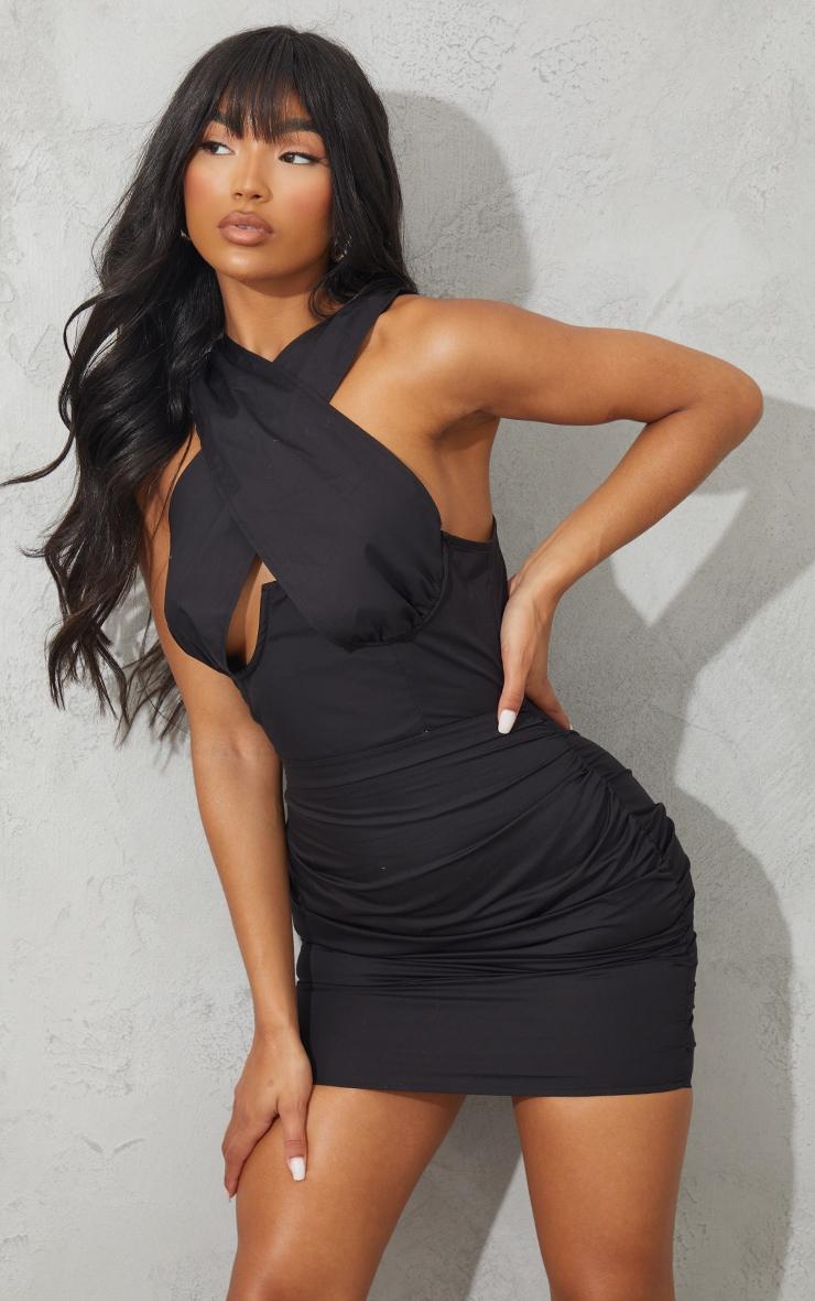 Black Underbust Halterneck Ruched Bodycon Dress 1