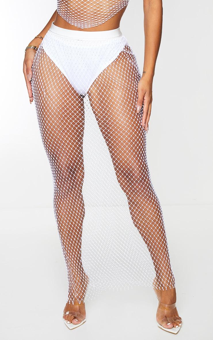 Shape White Mesh Diamante Maxi Skirt 2