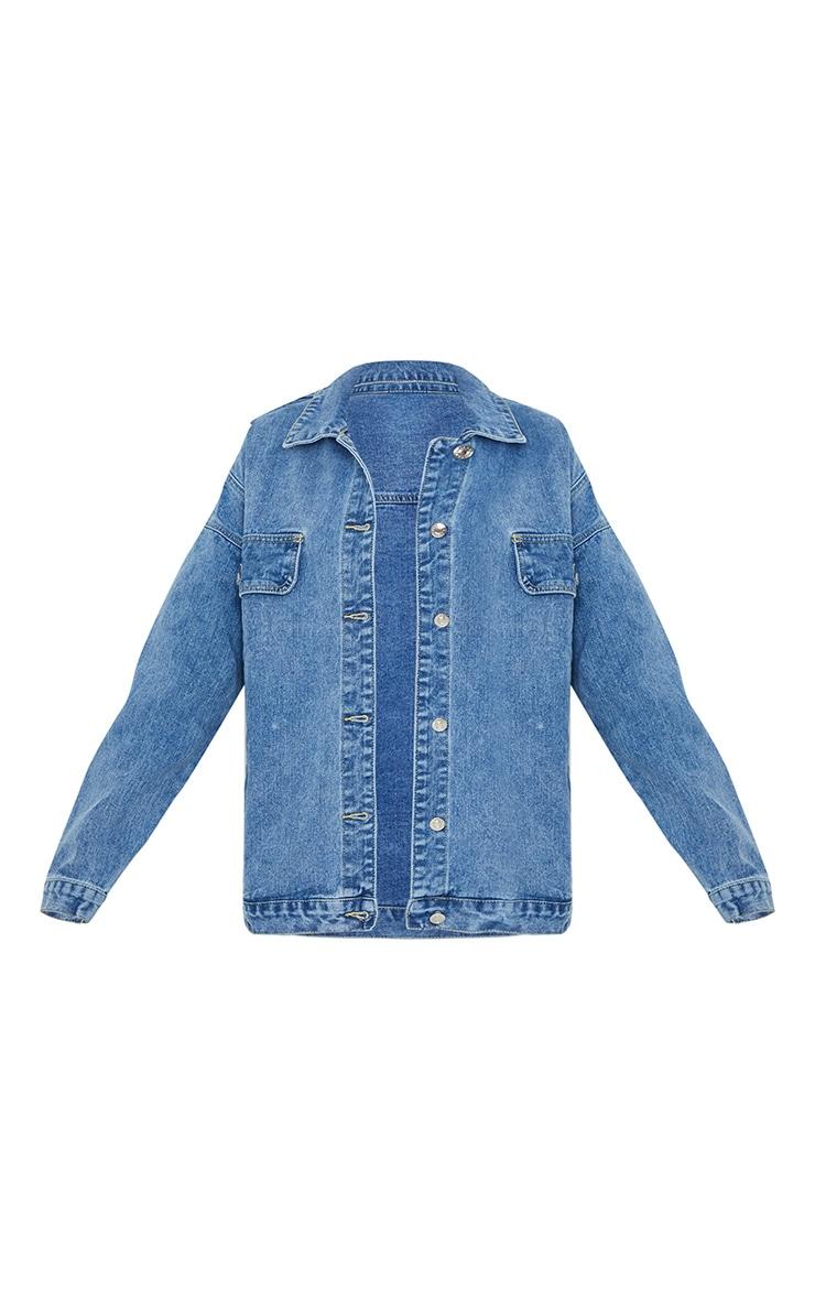 PRETTYLITTLETHING Mid Blue Wash Oversized Boyfriend Pocket Detail Denim Jacket 5