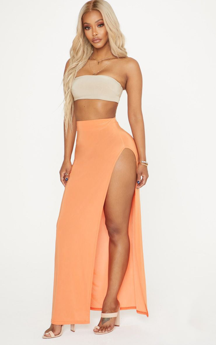 Shape Orange Extreme Side Split Midi Skirt 1