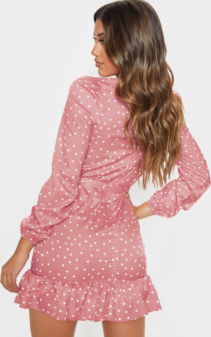 Pink Polka Dot High Neck Long Sleeve Smock Dress 2