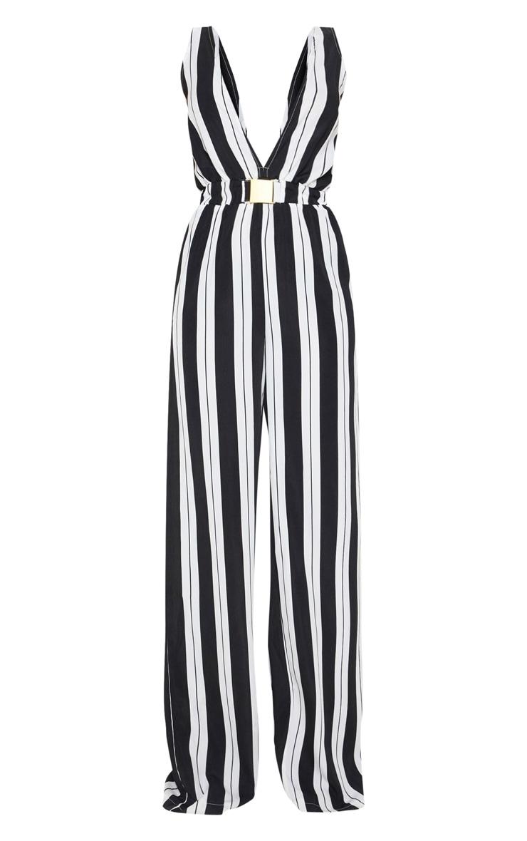 Petite Black Striped Buckle Belt Detail Jumpsuit 3
