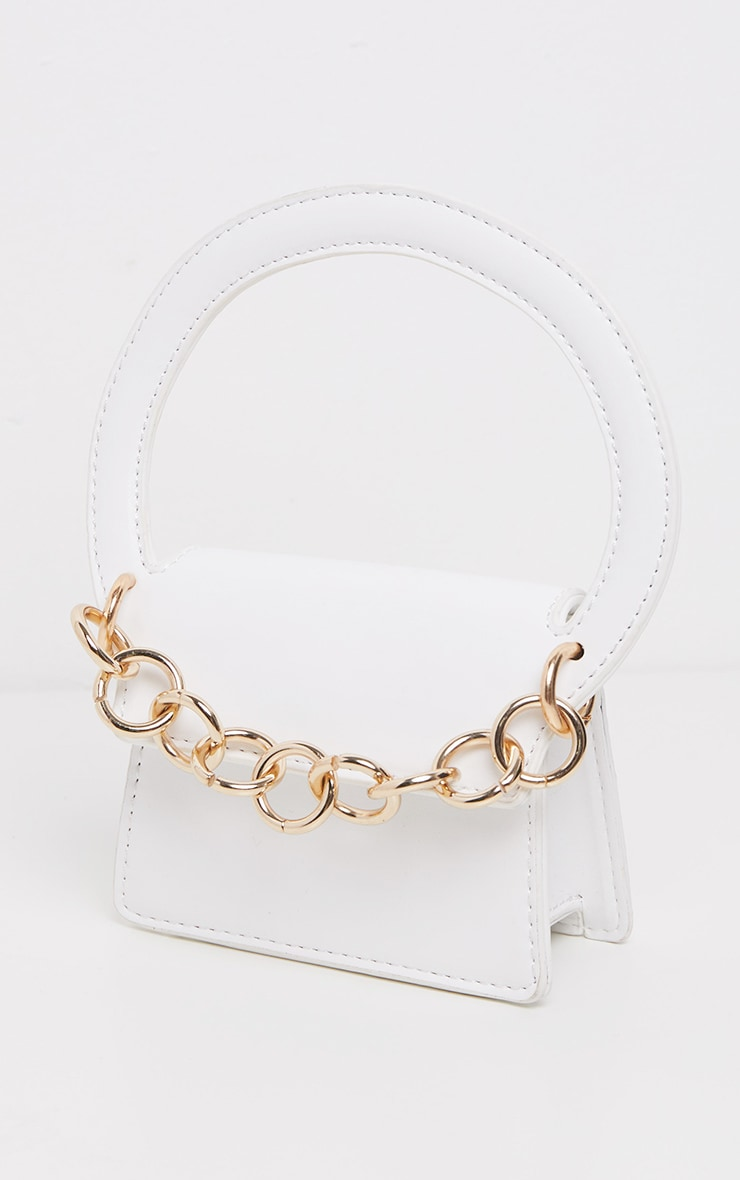 White Croc Chain Trim Micro Mini Bag