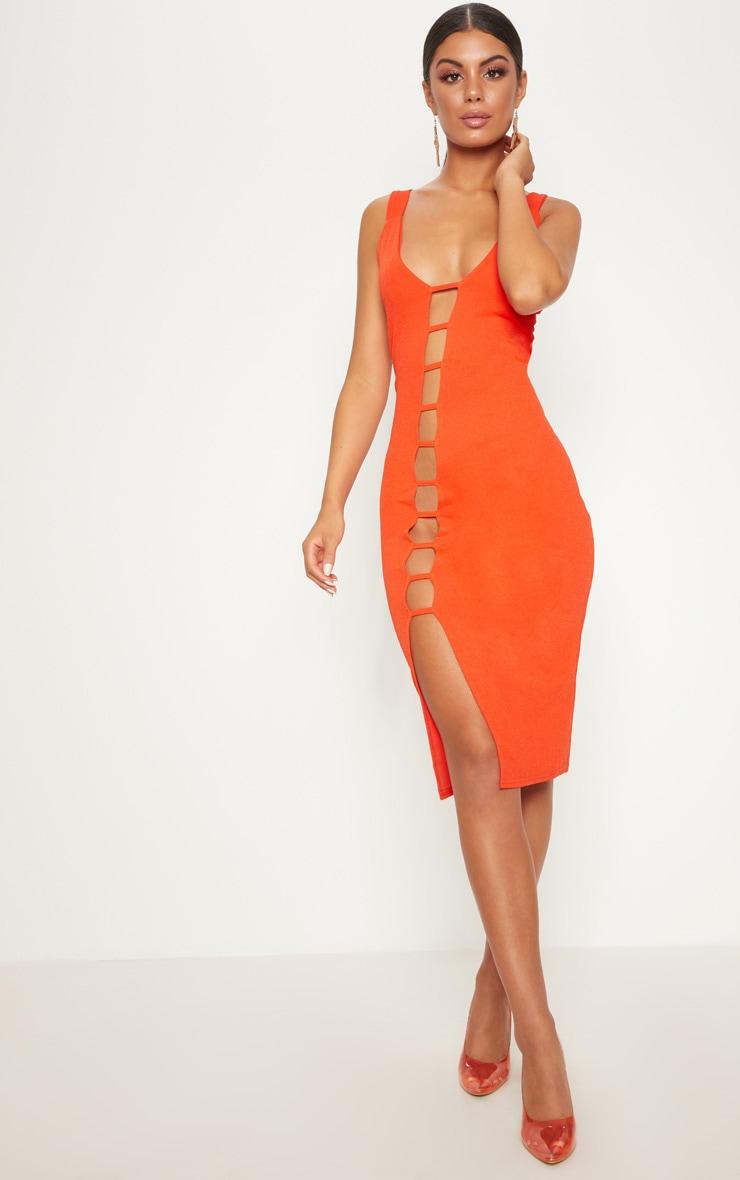 Bright Orange Cut Out Detail Strappy Midi Dress 1