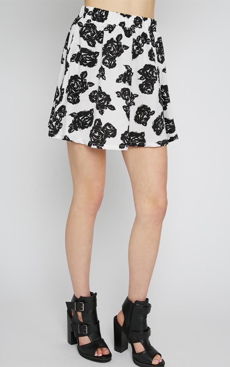 Fiona Monochrome Floral Print Skirt 3