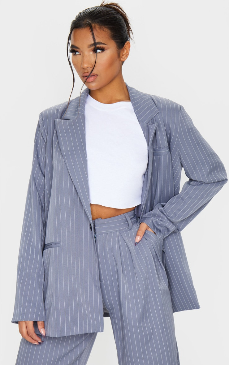 Charcoal Grey Pinstripe Oversized Dad Blazer 2