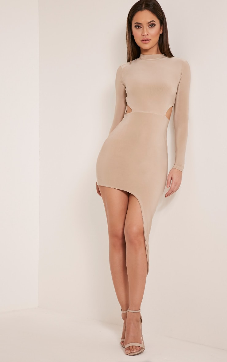 Avia Nude Cut Out Asymmetric Midi Dress 4