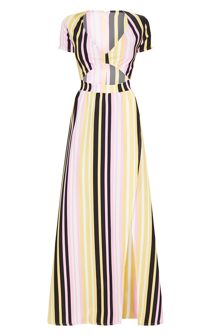 Multi Stripe Print Cut Out Maxi Dress 3