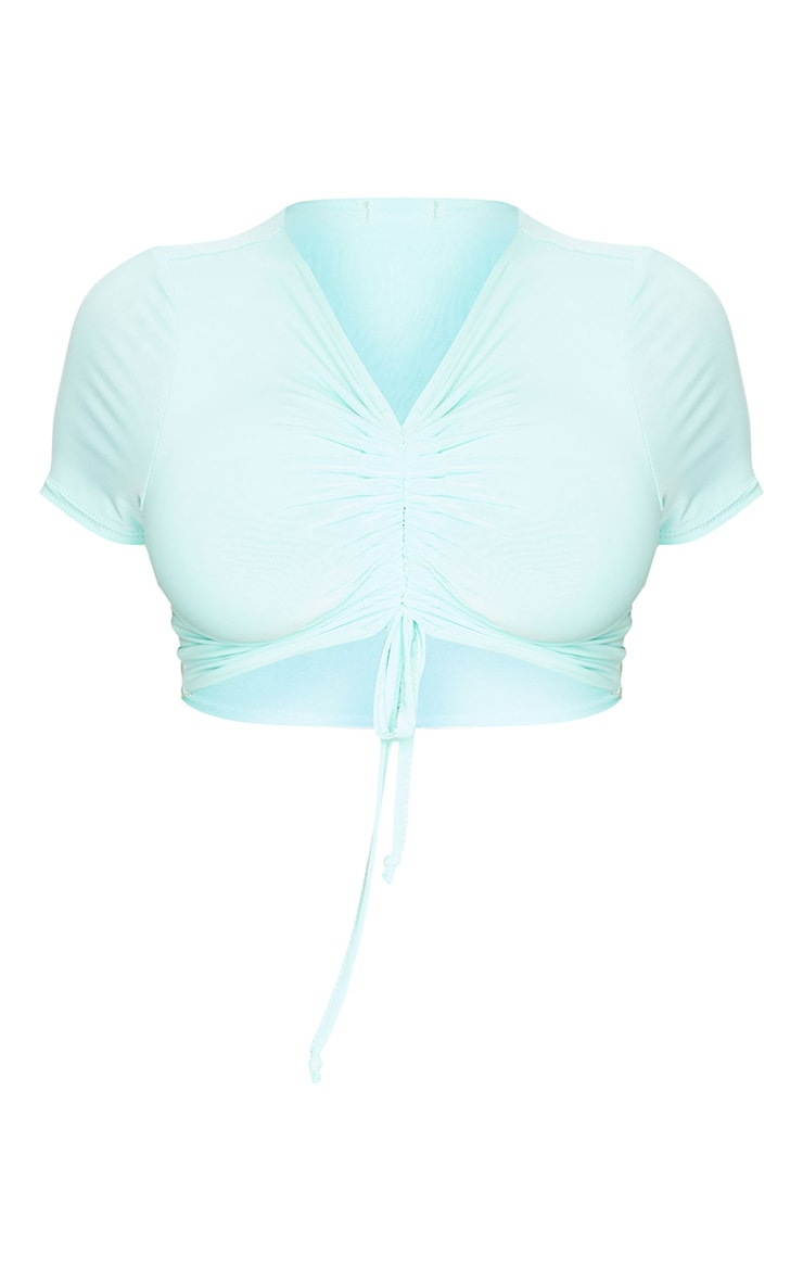 Shape Mint Slinky Ruched Front Crop Top 5